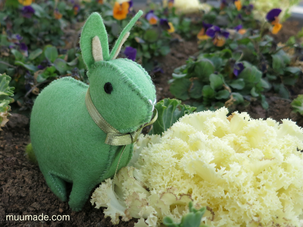 Little Felt Bunny - mint green upright eared bunny in the garden
