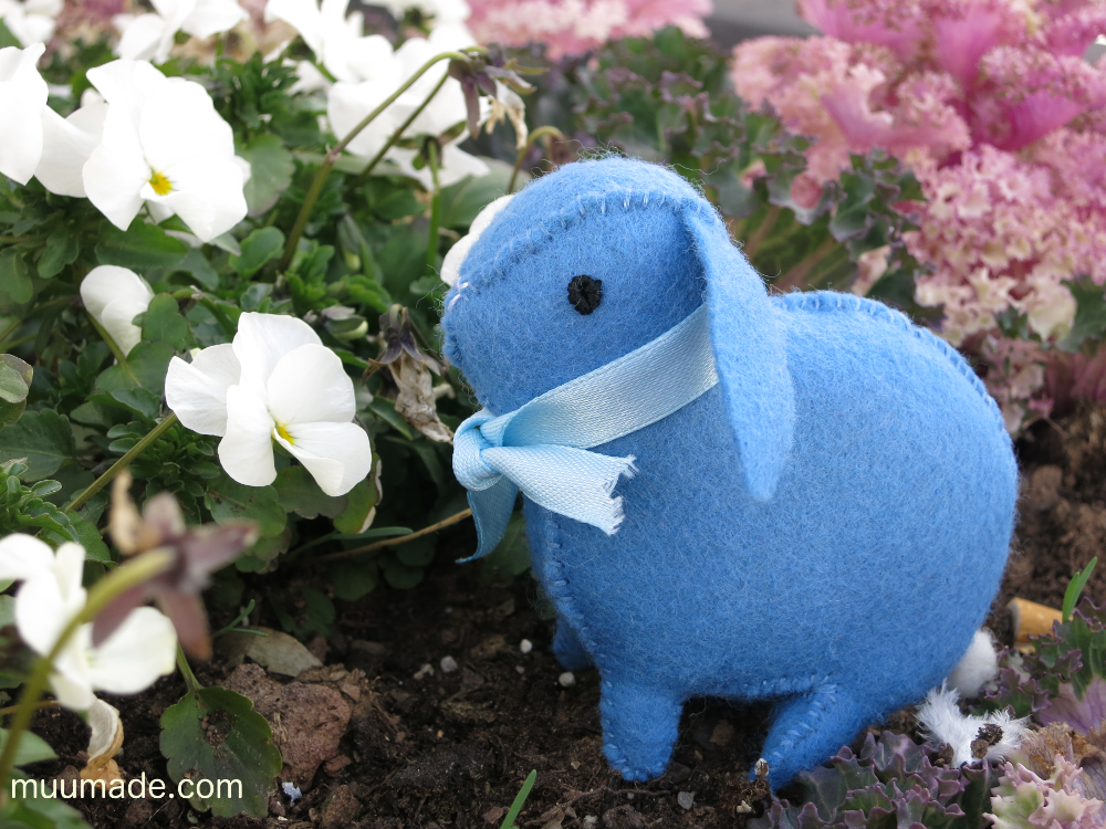 Little Felt Bunny - blue floppy eared bunny with white pansies