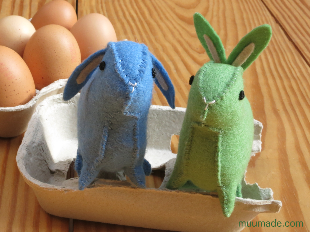 Little Felt Bunny - sewing pattern & tutorial - blue floppy eared and green upright eared bunnies