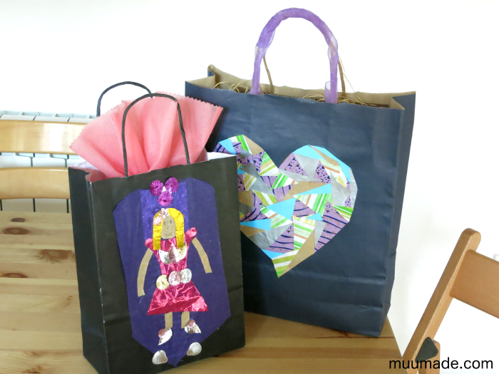 Paper gift bags with collages