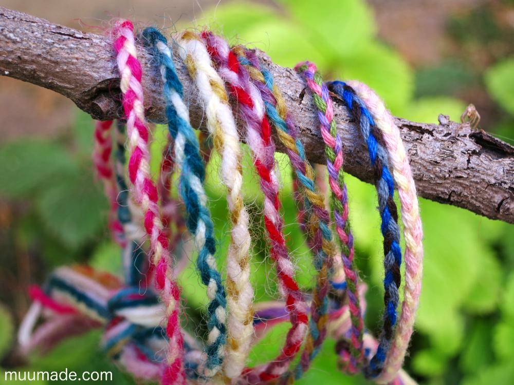 DIY colorful braided friendship bracelets