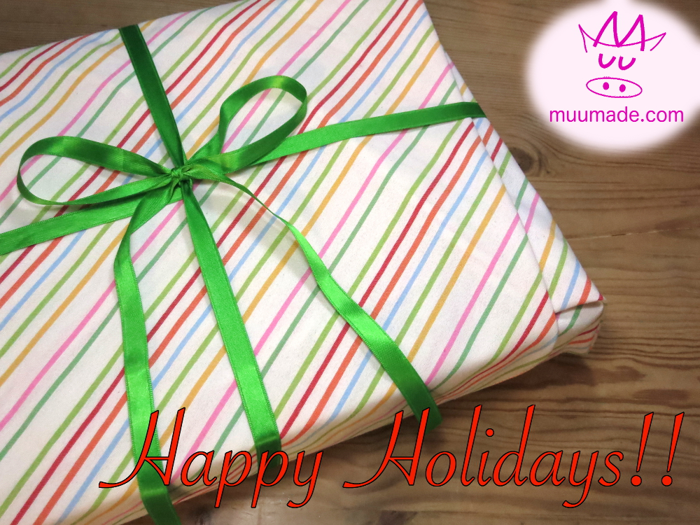 Fabric gift wrap - Holiday greetings from Muumade.com