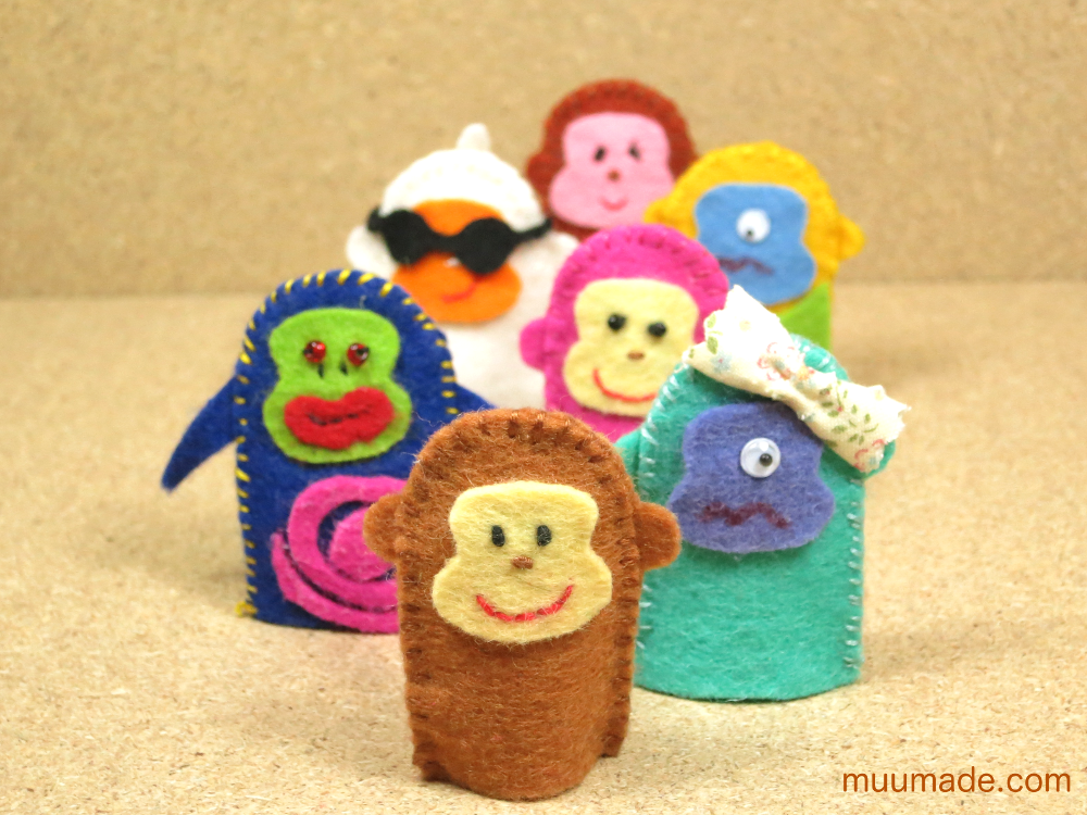 Monkey finger puppets lined up