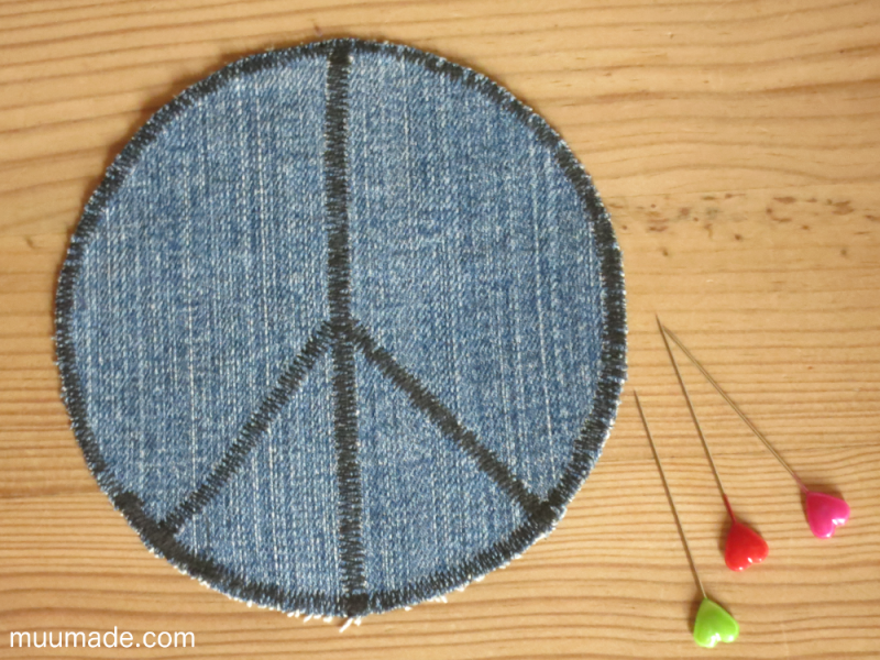 DIY peace symbol knee patch