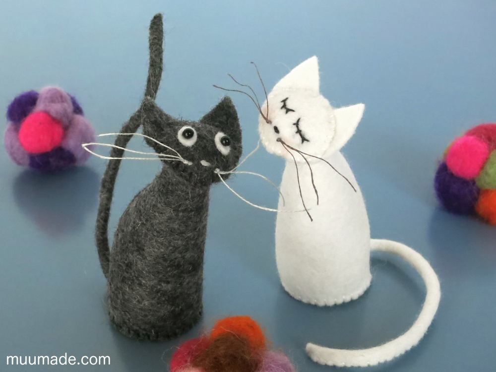 Simply Simple Cat - sewing pattern - a pair of cats, black and white