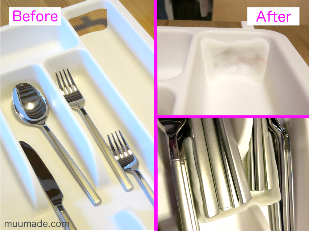 An utensil organizer fixed with moldable plastic