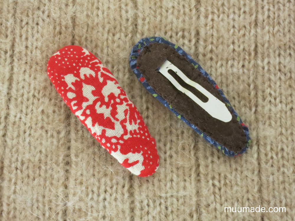 Hair clips redecorated with fabric