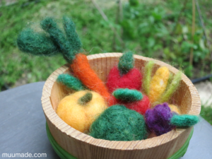 needle felted vegetables