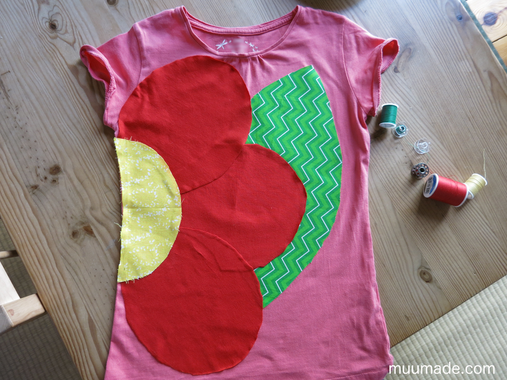 Designing your own applique for a T-shirt: design ironed on