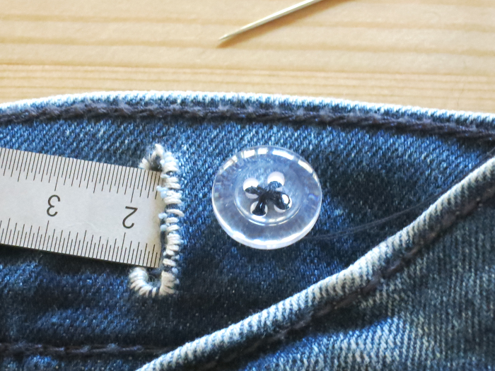 Taking in the Already Adjustable Waist of children's pants - replacing the button