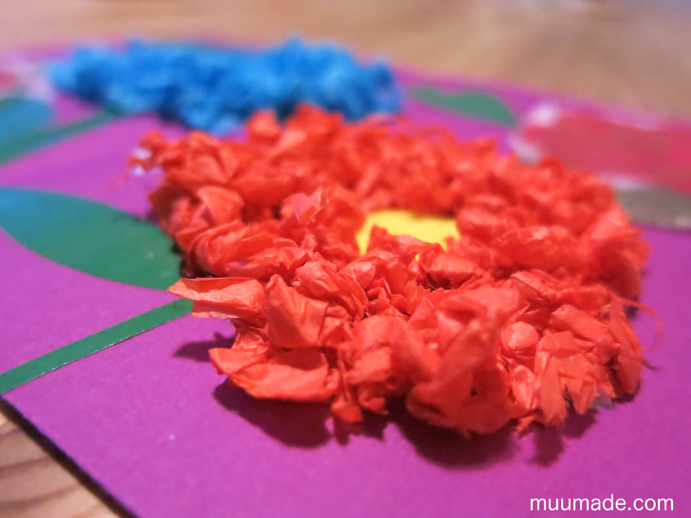 Making Cards with Tissue Paper Scrunchies - red and blue flowers