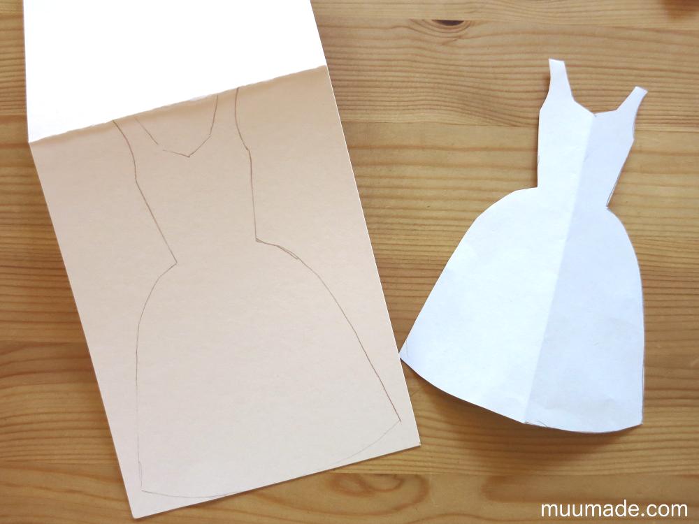 Tissue Paper Ball Craft - dress shaped card