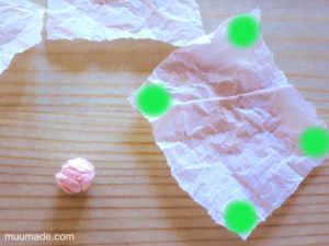 Making Cards with Tissue Paper Scrunchies - tissue paper ball