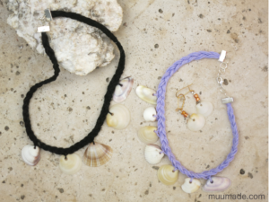 Seashell Choker Necklace - black and lilac cord necklaces with a pair of shell earrings