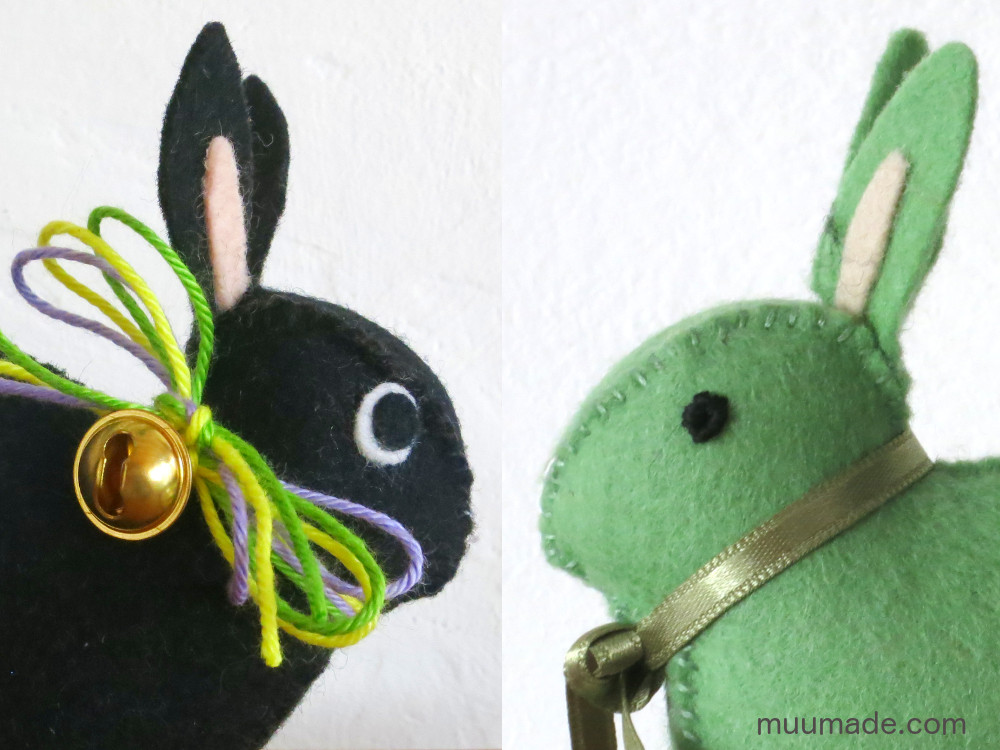 Little Felt Bunnies with two different types of eyes