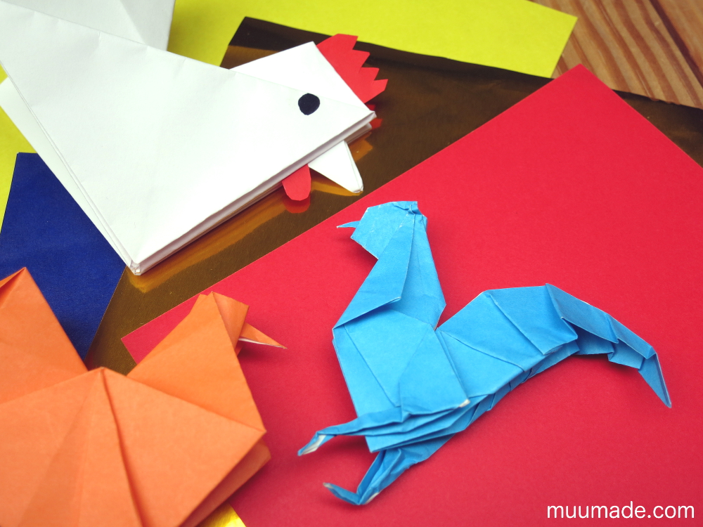 origami roosters and chickens for the new year muumade