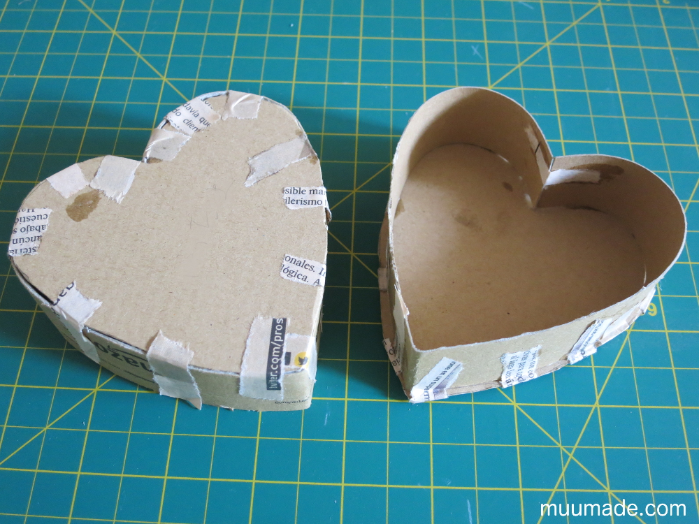 how to make a heart shaped paper mache box with lid