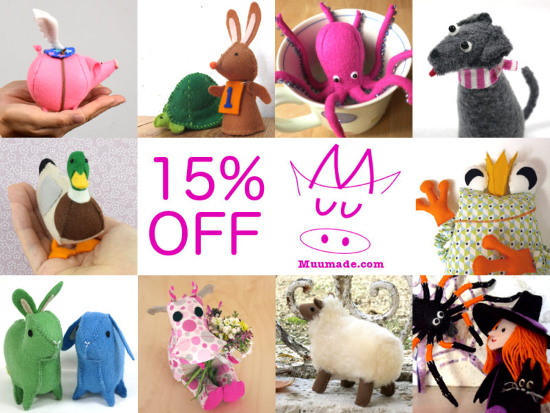 15% storewide sale at Muumade.etsy.com