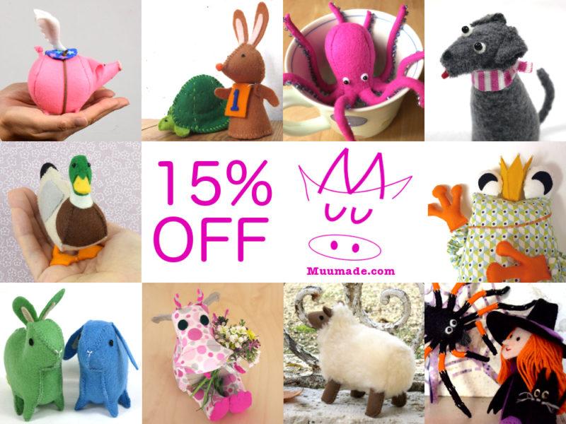 15% storewide sale at Muumade.etsy.com