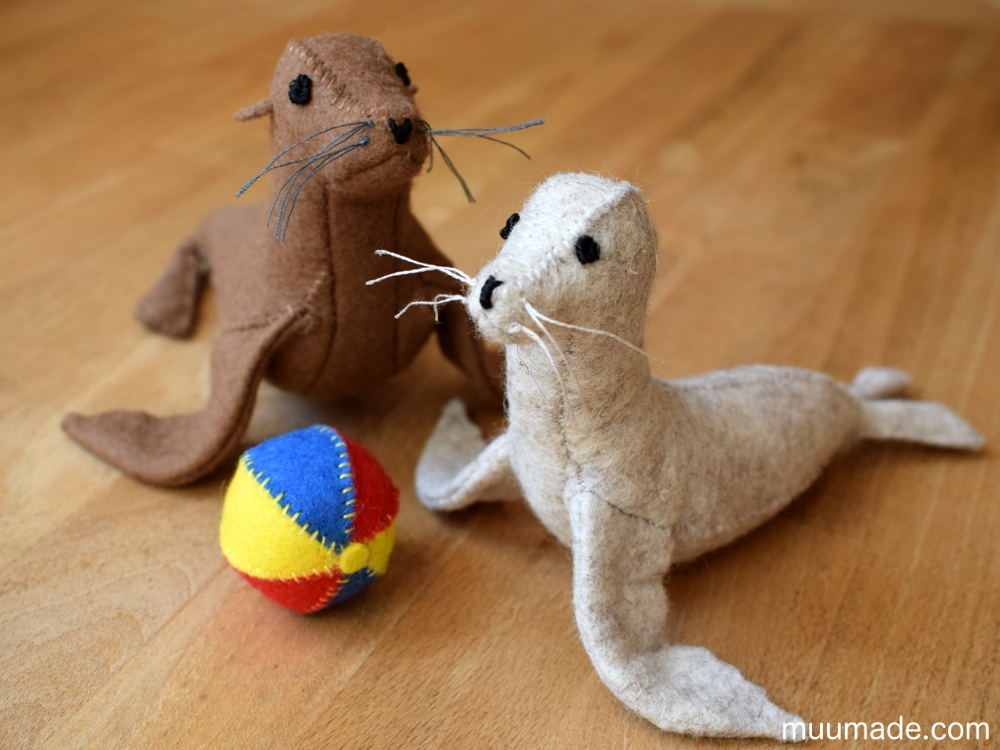 Little Felt Sea Lion & Seal sewing pattern & tutorial Muumade.com