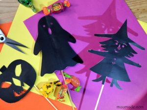 Halloween Shadow Puppets: Witch, Jack O'Lantern, Ghost -Muumade