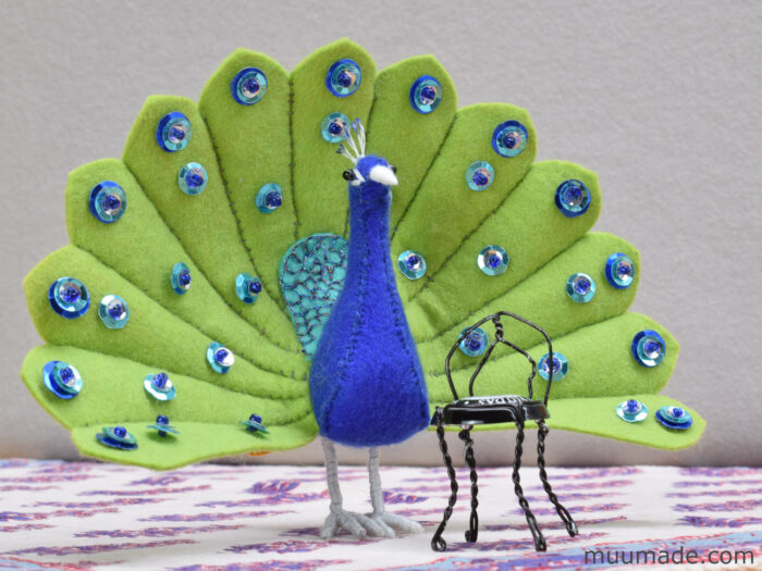 Little Felt Peacock sewing pattern & tutorial from Muumade.com
